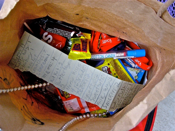 Mommy-proofing their Halloween candy with a detailed inventory.